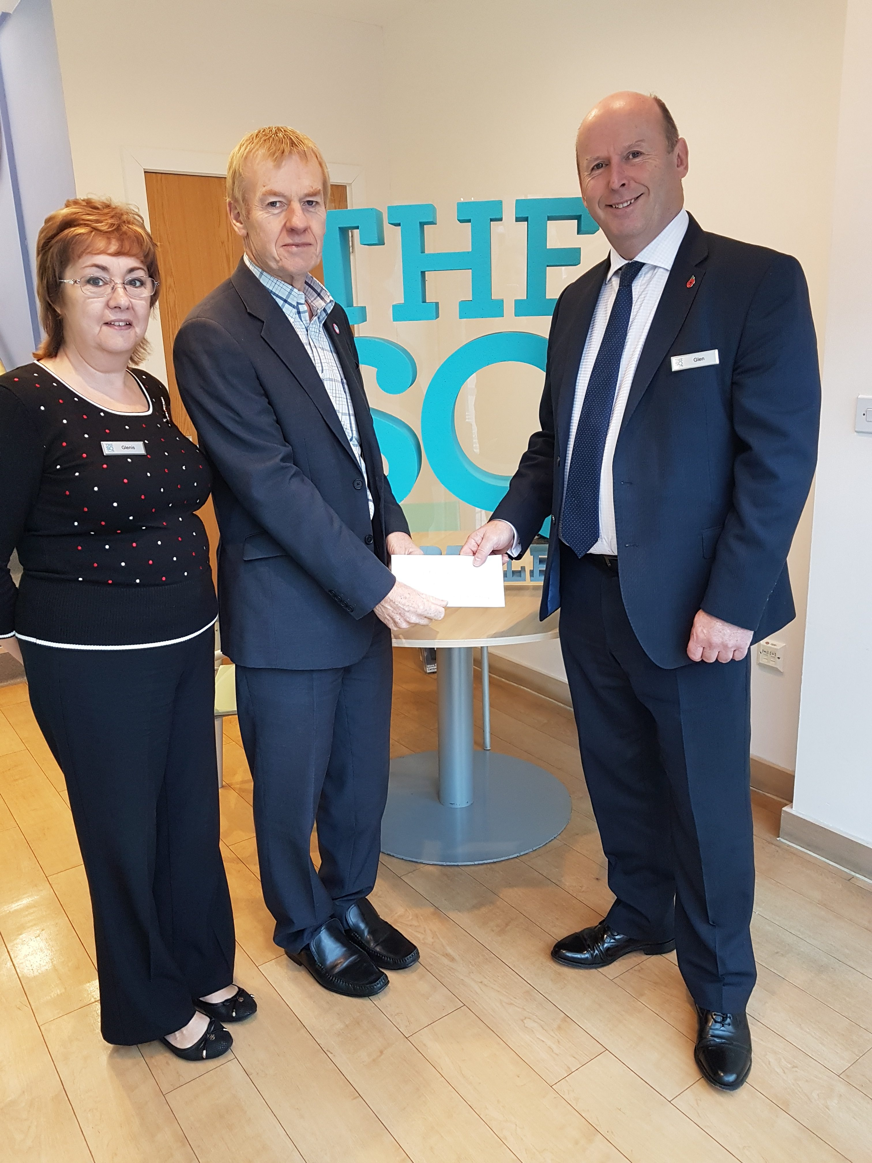 Glenis Grossmith, The Square Camberley Administration Manager, Keith Hanks, Frimley Park Hospital Fundraising Manager and Glen Fulton, The Square Camberley General Manager.