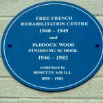 Blue Plaque marking the site of the Free French Recuperation Hospital
