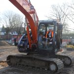 Mayor of Surrey Heath in digger at ground breaking ceremony