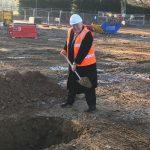 Mayor of Surrey Heath with spade at Ground Breaking ceremony