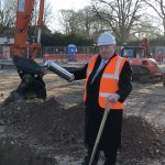 Mayor of Surrey Heath with time capsule at ground breaking ceremony
