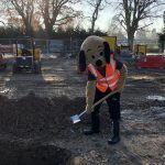 Pooch the Places Leisure mascot at ground breaking ceremony
