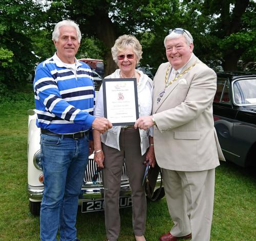 Mayor and Mayoress with Classic Car Show competition winner